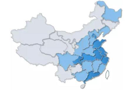 中国区域知识产权指数区域分布图