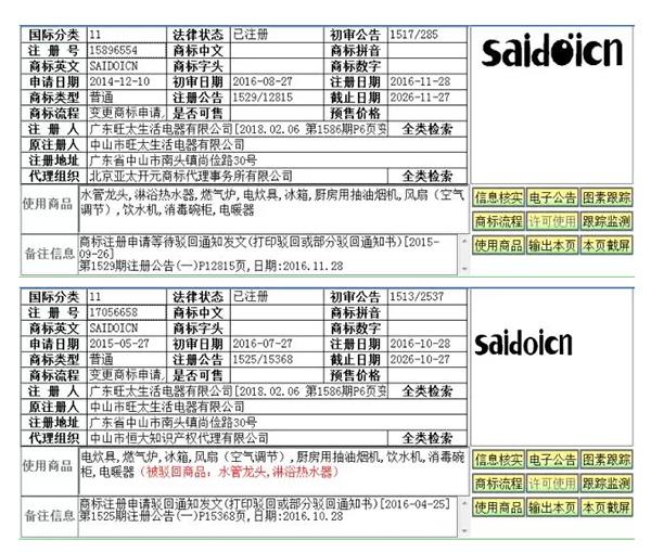 saidoicn商标被驳回