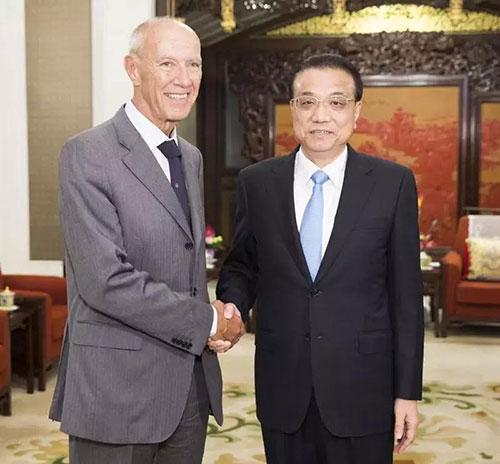 国务院总理李克强和世界知识产权组织总干事高锐